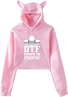 Girl's Exposed Umbilical Short-Sleeved T-Shirt DTF Down to Fiesta Hoodies Sweatshirt Cat Ear Crop Tops Pullover