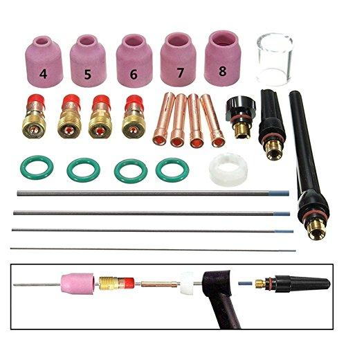 Rokoo 26 Unids/Set TIG Welding Torch Boquilla Boquilla Tungsten Gas Lens WL20 Kit para TIG WP-17/18/26
