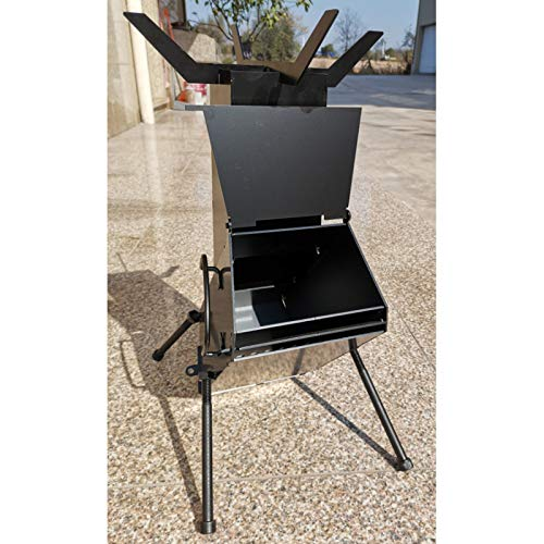SEOCOM Portable Wood Burning Stove,Rocket Stove Wood Burning Large,Tent Stove,Wood Stove,Camping,Heater,Cooking,19x13x10 Inches,Stainless Steel,Black