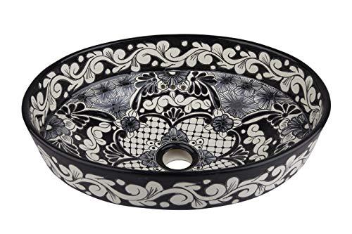 Serena - Mexikanisches Waschbecken in Schwarz und Weiß - Cerames | Waschschale 44 x 35,5 x 15 cm | Aufstzwaschbecken für Badezimmer Toiletten Gäste WC