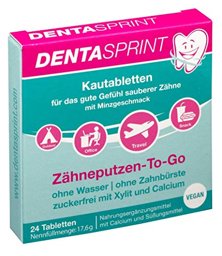 DENTASPRINT® I 24 Zahnputztabletten I ohne Zahnbürste, ohne Zahnpasta, ohne Wasser - Zähneputzen-To-Go I vegan I zuckerfrei I Kautabletten