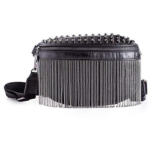 LATICCI Riñonera para mujer con borlas de metal, piel sintética, color negro