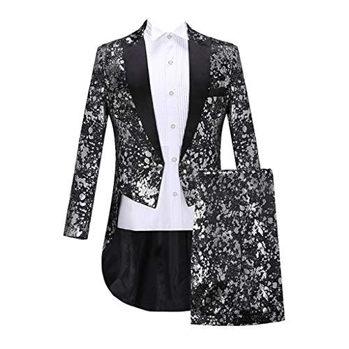 INLLADDY Herren Smoking Mantel Hosen Outfit Retro Gerichts Kostüm Leistungskleidung Abendessen Party Karneval Kleidung Silber L