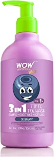WOW Kids Tip to Toe Wash - Shampoo - Conditioner - Body Wash - No Parabens, Sulphate, Silicones, Mineral Oil or Color - Blueberry, 300 ml