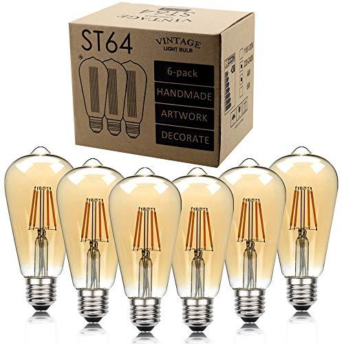 Fenshan223 Bombilla lámpara Antigua ST64 LED Lámpara de filamento 220V 110V Lámpara Decorativa Retro Bulbo (Color : Voltage 220V, Size : 4 Watt)