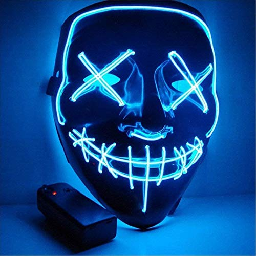 Sinwind Maschera LED Halloween la Maschere Halloween Maschera LED Light Up Maschera LED Illumina la Maschere per Halloween Cosplay Feste del Partito Halloween Costumi (Blu)