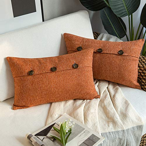 Phantoscope Farmhouse Throw Pillow Covers Triple Button Vintage Linen Decorative Pillow Cases for Couch Bed and Chair Orange, 12 x 20 inches 30 x 50 cm, Pack of 2