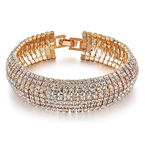 Long Way Women's Silver/Gold Plated Crystal Bracelets 6.7'+2.4' (gold)