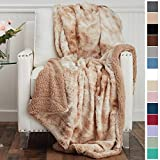 The Connecticut Home Company Luxury Faux Fur with Sherpa Reversible Throw Blanket, Super Soft, Large Wrinkle Resistant...