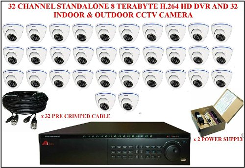 TC66 - 32 Kanal 8 TERABYTE H, 264 DVR mit APOLLO innen 32 Stand HD & Überwachungskamera für den Außenbereich