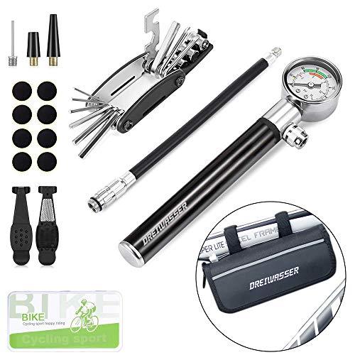 DreiWasser Fahrrad Werkzeugsets, Fahrrad Reparaturset mit Tragtasche inkl. Luftpumpe mit Manometer, 16 in 1 Multiwerkzeug, Flickzeug, Schrauber, Reifenheber und Feile