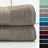 Lumaland Premium 2er Set XXL Badetücher Handtücher Frottee 100 x 150 cm aus 100% Baumwolle 500 g/m² mit Aufhänger Taupe