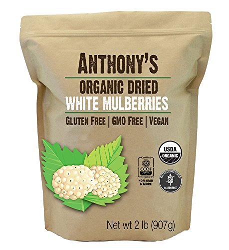 Anthony's Organic White Mulberries, 2 lb, Sun Dried, Non GMO & Gluten Free