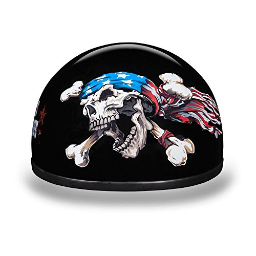 Daytona Helmets Motorcycle Half Helmet Skull Cap- Patriot 100% DOT Approved