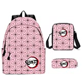 Yumenam Unisex Anime Demon Slayer Mochila School Bag + Bolsas de Hombro + Cartuchera 3pcs Set Kamado Tanjiro Nezuko Estampado 3D Mochila Bolsa De Viaje Bolsa Portátil