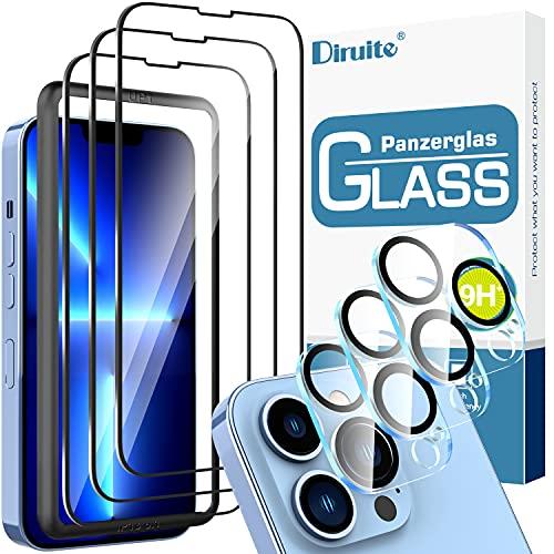 Diruite 6 Pack Protector de Pantalla Compatible con iPhone 13 Pro 6.1 Pulgada con 3 Pack Cristal Vidrio Templado 3 Pack Protector de Lente de Cámara Anti Luz Azul HD Sin Burbujas Dureza 9H