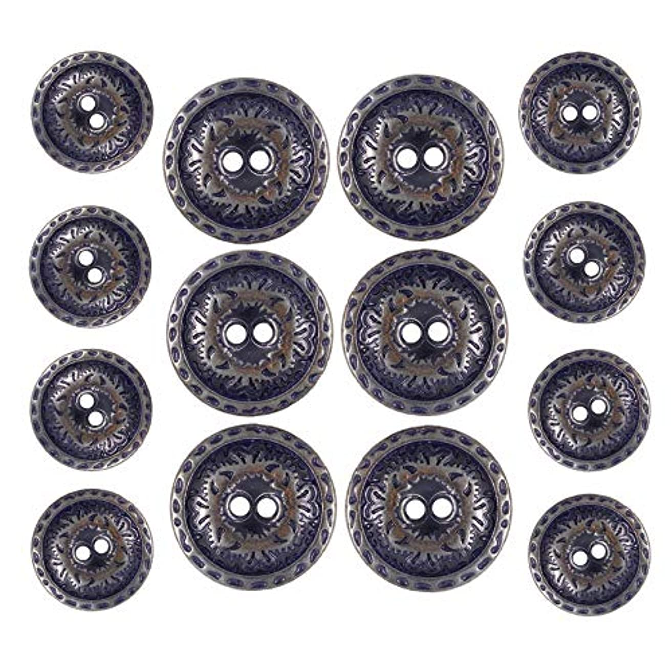 Bezelry Dark Copper and Blue Metal Hole Blazer Button Set. 6 Pcs of 23mm, 8 Pcs of 15mm