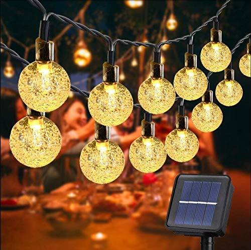 Guirnalda de luces solares de 130 LED para exteriores de 10 m, funciona con energía solar, resistente al agua, 8 modos de globo decorativo para valla, patio, fiesta
