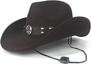 MAODOXIANG Men's Cowboy Hat Winter Cowboy Hat Western Cowboy Hat Ladies Outdoor Large Hat Poker Pattern Rivet Decorated Solid Jazz Hat (Size: 56-59cm) (Color : Coffee, Size : 56-59cm)