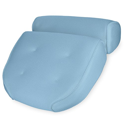 Navaris Badewannen Kissen Badekissen aus Mesh - Wannenkissen Kopfkissen Nackenkissen Badewannenkissen - Öko Tex Standard 100 - Anti Rutsch in Blau