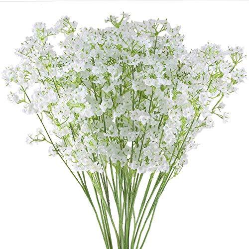 Ahsado 20 flores artificiales para el aliento de bebés, 40,6 cm Gypsophila real Touch flores de...