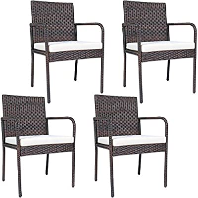 PATIOJOY Outdoor Rattan Dining Chairs(Set of 4), Patio Wicker Chairs with Armrests, 4 Dining Chairs with Soft Cus Poolside Lawn Backyardhion for Dining Room (Brown)