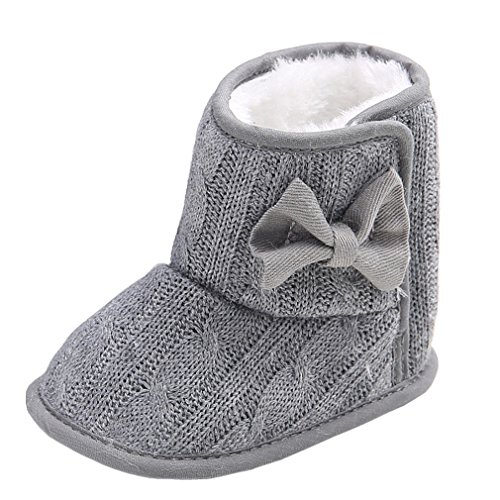 Annnowl Baby Snow Boots Knitted Crib Shoes with Bow 0-18 Months (6-12 Months, Grey)