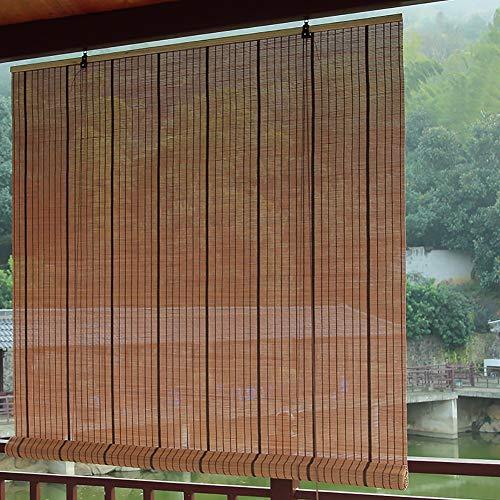 Estores Enrollables Bambú Al Aire Libre Exterior Cortinas Enrollables para Gazebo/Balcón/Puerta/Patio, Bambú Enrollar Persiana de La Ventana con Conexión, 60cm / 80cm / 100cm / 120cm / 140cm de