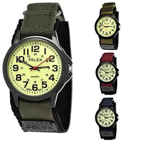 NY London Camouflage Kinder-Uhr Jungen-Uhr Mädchen-Uhr leuchtendes Ziffernblatt Kinder Analog Textil Nylon Armband-Uhr Schwarz Rot Blau Japanisches Qualitäts Uhrwerk (Grün-Leuchtend)
