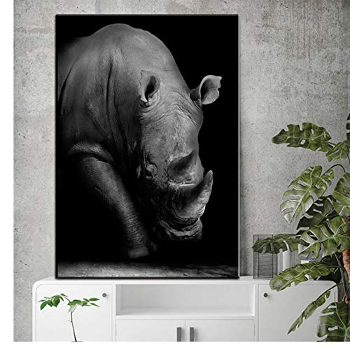PCCASEWIND Wall Picture Without Frame 50X60Cm- Rhino Wall Art Canvas Painting Black White African Animals Nordic Posters And Prints Living Room Murals