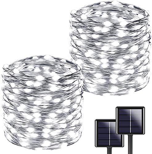 [2 Stücke] Usboo® Solar Lichterkette, 150 kaltweiße LEDs 15 Meter für Innen & Außen mit wasserdichten Kupferdrähten für Zimmersdekorationen, Feste, Garten, Balkons, Partys, Hochzeiten, Kinder usw.