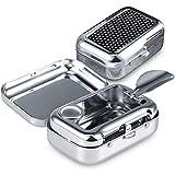 Mini Posacenere Portatile Tascabile, Posacenere Antiodore, Posacenere Mini Quadrato in Metallo, per Fumare All'interno o All'esterno