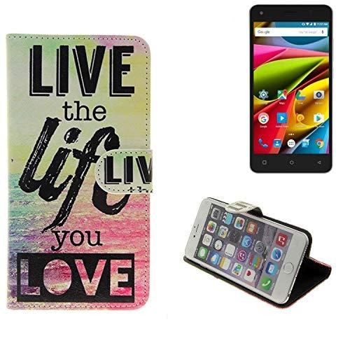 K-S-Trade® Schutzhülle Für Archos 50b Cobalt Lite- Schutz Hülle 360° Wallet Case ''live Life Love'' Schutzhülle Handy Tasche Handyhülle Etui Smartphone Flip Cover Standfunktion (1x)
