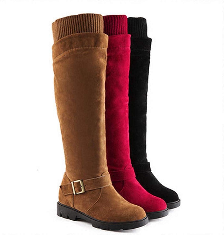 Women's Boots - Low-Heeled Matte Long Knee Boots Winter Warm Boots Flat Boots 34-43