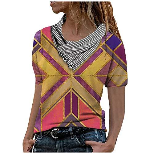 T Shirt Femmes Chic Blouse Elegante Vest Fleuri Imprimée Ample Chemise Col en V Tops Pas Cher Chemisier Baggy Tendance Oversize Manche Courte Eté 2021 Chemisie Tops
