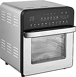 Image of GoWISE USA 14.7-Quart Air Fryer Grill with Dual Heating Elements & Oven with Rotisserie, Dehydrator, Preheat and Broil Functions + 11 Accessories with 2 Recipe Books (Stainless Steel/Black), Ultimate: Bestviewsreviews
