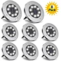 8-Pack ZGWJ 8 LED Upgraded Outdoor Garden Lights
