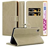 Cadorabo Hülle für Sony Xperia X in Cappuccino BRAUN – Handyhülle mit Magnetverschluss, Standfunktion & Kartenfach – Hülle Cover Schutzhülle Etui Tasche Book Klapp Style