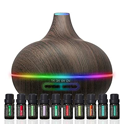 Ultimate Aromatherapy Diffuser & Essential Oil Set - Ultrasonic Diffuser & Top 10 Essential Oils - 300ml Diffuser with 4 Timer & 7 Ambient Light Settings - Therapeutic Grade Essential Oils - Dark Oak…