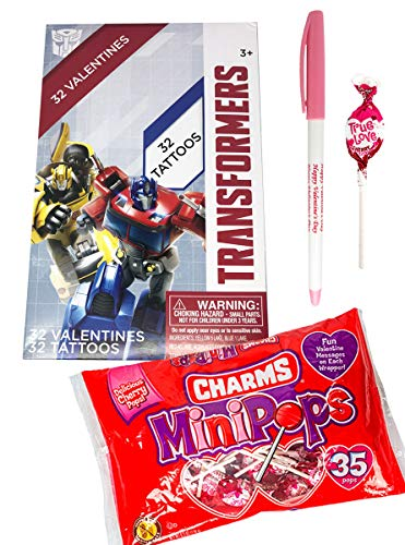 Transformers 32 Valentines Cards with Tattoos, Charms Lollipop Minipops and Happy Valentines Day Pen Classroom Exchange Bundle For Kids