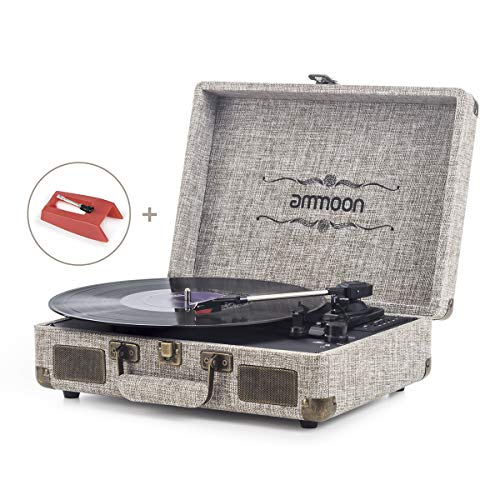 Vinyl Record Player, ammoon 3 Speed Turntable Blue Tooth Record Player with...