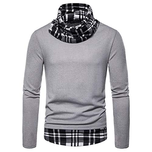 Sweater Casual Patchwork Jacket Plaid High Collar Pullover Sweater,Color 1,Asian Size XL