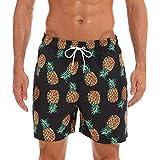 LINSID Herren Strandshorts Sommer Badehose Männliche Badebekleidung Schnelltrocknend Atmungsaktiv Lose Elastische Lässige Kurze Ananas in Übergröße