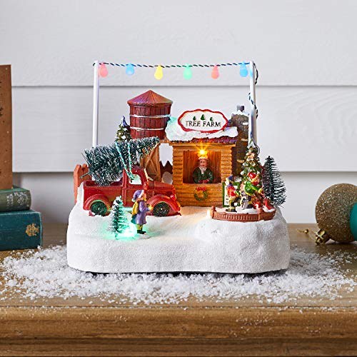 Lights4fun, Inc. Battery Operated LED Light Up Christmas Tree Farm & Ice Skating Village Decoration