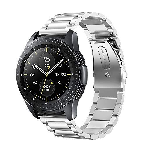 Fintie Bandjes compatibel met Samsung Galaxy Watch 42mm/Active 2/Activer/Gear Sport/Gear S2 Classic Smartwatch, Premie Roestvrij Staal Metaal Band Vervangende Armband met Dubbele Vouwsluiting, Zilver
