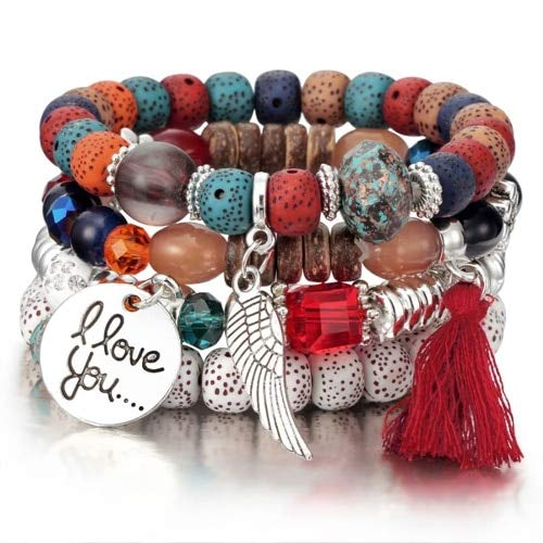 Pulseras De Cuentas De Piedra Natural para Mujer I Love You Wing Tassel Charm Pulseras Y Brazaletes Set Boho Vintage Jewelry-Red