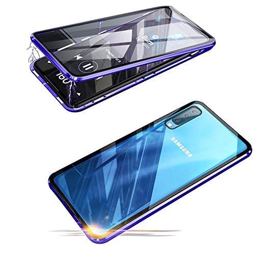 Jonwelsy Funda para Samsung Galaxy A50, 360 Grados Delantera y Trasera de Transparente Vidrio Templado Case Cover, Fuerte Tecnología de Adsorción Magnética Metal Bumper Cubierta para A50 (Azul)
