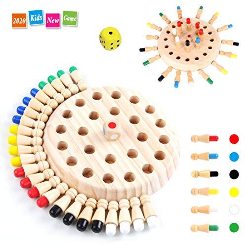 Lachesis Memory Match Stick Schach, Memory Schach Holz, Hölzernes Gedächtnis-Schach Pädagogisches Spielzeug Brettspiele für Kinder/Erwachsene, Ideal Farblernspielzeug Lernspielzeug für Kinder