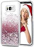 wlooo Cover Samsung S8, cover samsung galaxy s8, cover s8 glitter, cover glitter s8, Bling Liquido Custodia TPU Silicone morbido Brillantini Quicksand Case per Samsung Galaxy S8 (Oro rosa)