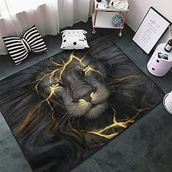Astede Cool 3D Lion Head Animal Pattern Area Rug Non Slip Comfort Yoga Mat Floor Carpet Home Decor for Living Room Bedroom 60x39 Inch